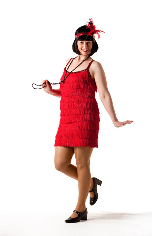 Red Fringed Flapper Dress - Sizes 10 - 16