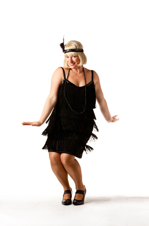 Black Fringed Flapper Dress - Sizes 10 - 16