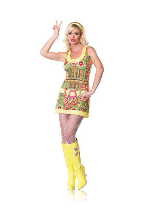 2 Pc Funky Mod Hippie Dress & Headband. Sizes 10 & 12