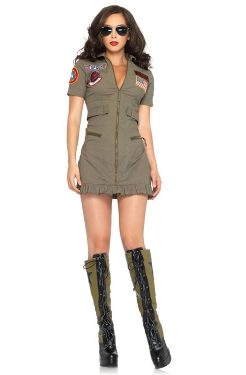 2 Pc Top Gun Flight Dress. Dress & Sunglasses. Sizes 8, 10 & 12
