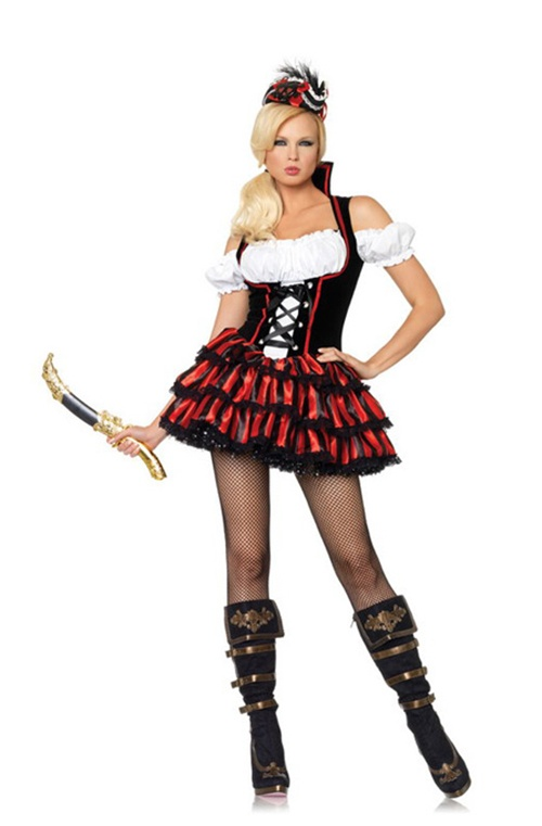 3 Pc Shipwreck Pirate. Dress, Hat & Eyepatch. Sizes 10, 12 & 14/16