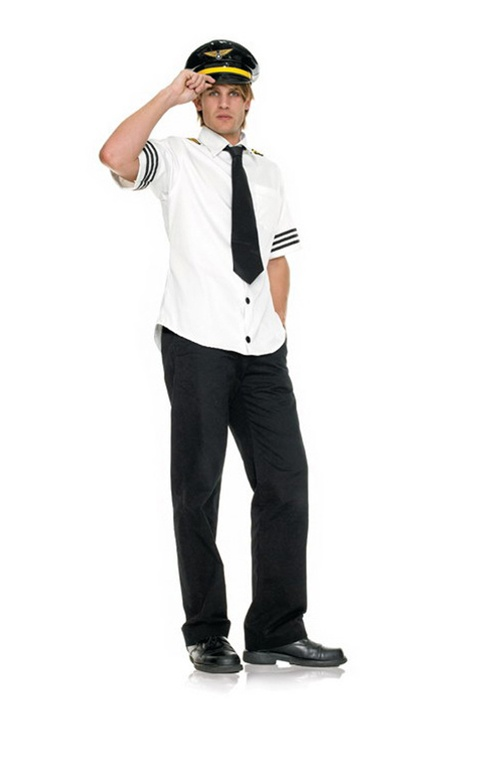 3 Pc Captain Fetish Air. Shirt, Tie & Hat. Sizes Medium & Large