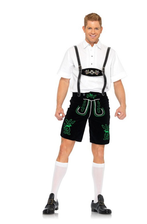 2 Pc German Lederhosen. Shorts with Suspenders & Shirt. Size 40""