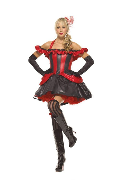 4 Pc French Cancan Costume. Dress, Petticoat, Choker & Lace Gloves. Sizes 12 & 14